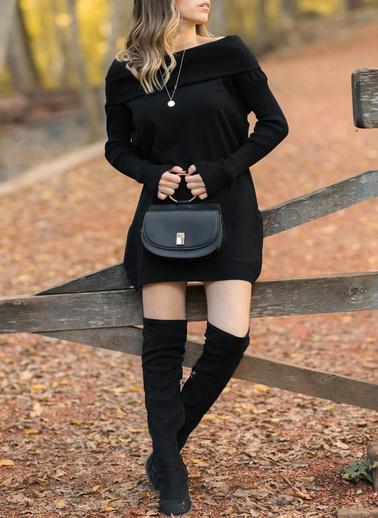 XHAN Degaje Yaka Elbise 9Kxk6-42125-50 Siyah